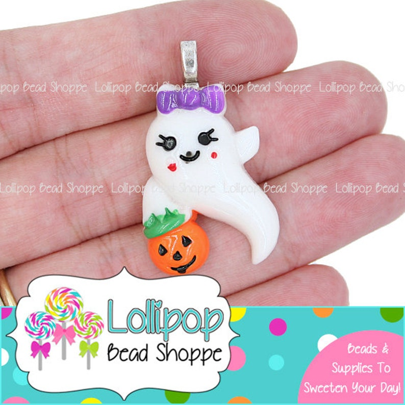 2 Girl GHOST Pendants Purple Bow & Jack O Lantern Flat Back image 0
