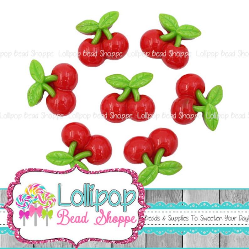 Red Cherry Cabochons Maraschino Cherries Fruit Resin Flat image 0