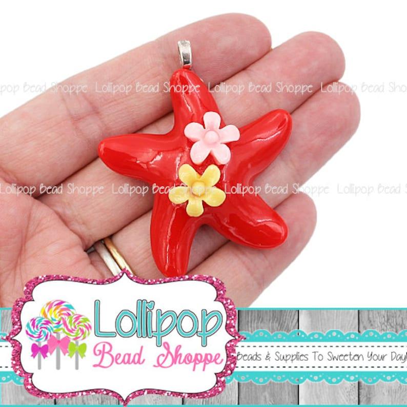 2 RED Sea Star Pendants Starfish Pendants Flat Back Resin image 0