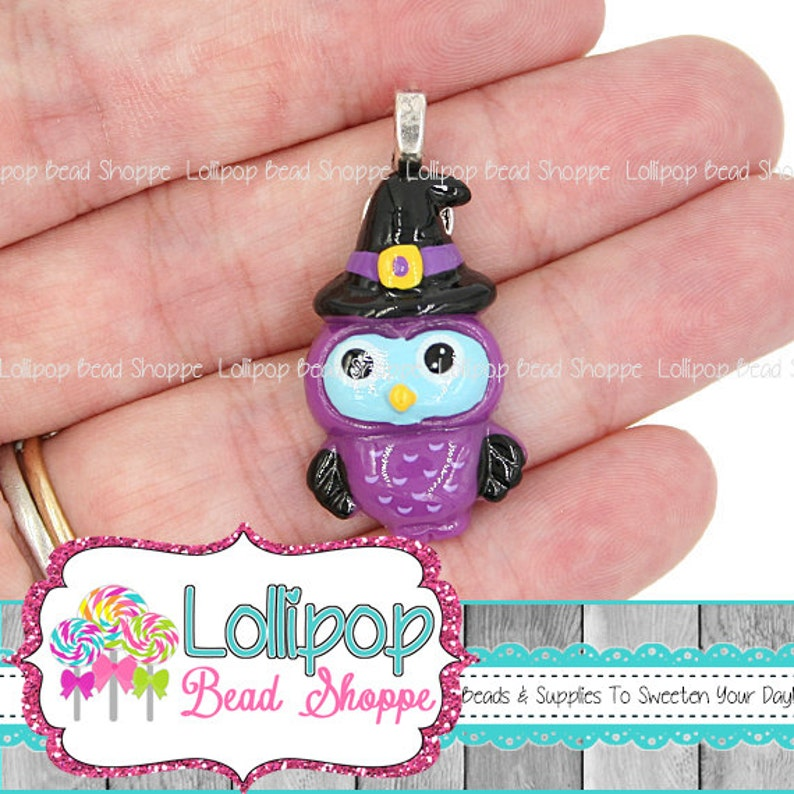 2 WITCH OWL Pendants Haunted Witch Hat Flat Back Resin image 0