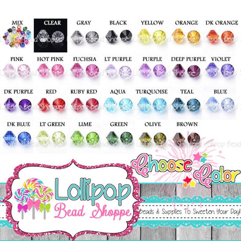 14MM Beads Bicone Beads Diamond Beads Clear Beads Mix Chunky image 0