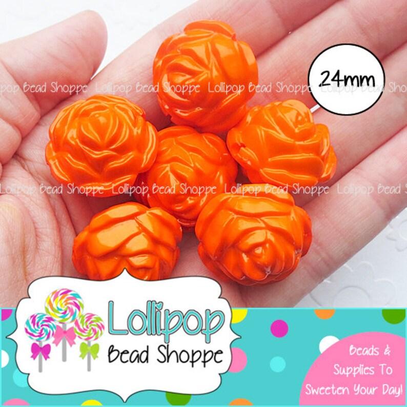 24mm ORANGE ROSE Beads Round Roses Chunky Necklace Beads 6 image 0