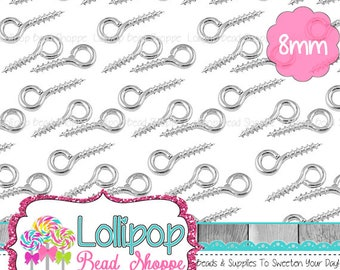 Silver Eye Screws, Bail, Screw Eye, Eye Hook, Eye Pins, 8mm, Jewelry Finding, Connector Loop Charm Connector Craft Supplies Jewelry Supplies