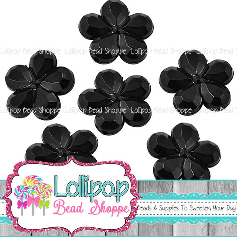 20mm Beads BLACK FLOWER Beads Faceted Daisy Beads Chunky Beads image 0