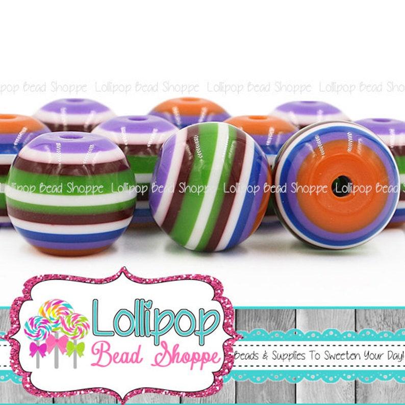 20mm Multicolor Stripe Beads Orange Purple Blue White image 0