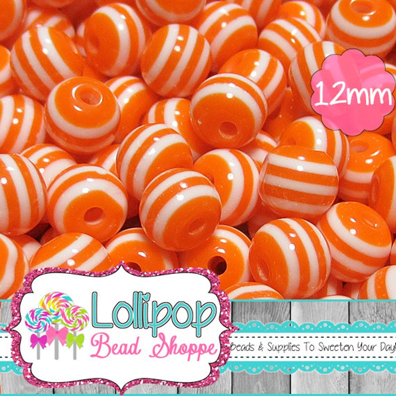 12mm ORANGE & WHITE STRIPED Beads Stripe Beads Resin Round Gum image 0
