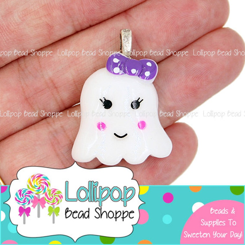 2 Girly GHOST Pendants Girl Ghost w/ Purple Dot Bow Flat Back image 0