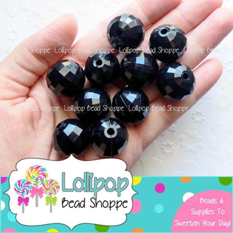 20mm Beads BLACK Beads DISCO BALL Beads Bubblegum Beads Bubble image 0