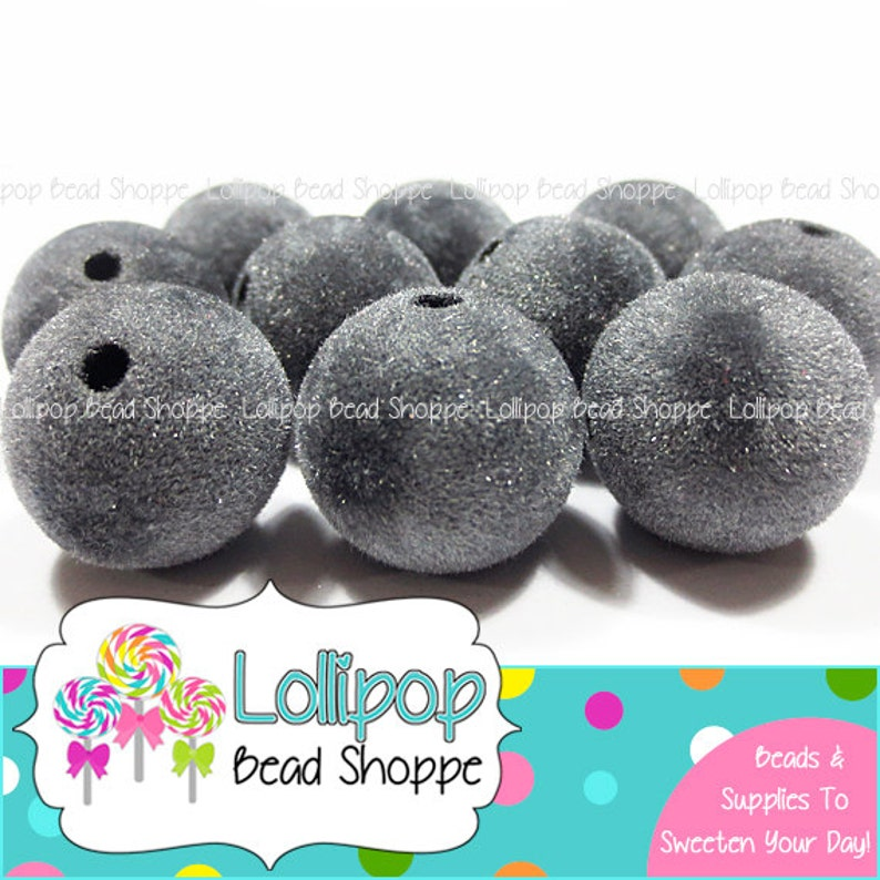GRAY Velvet Beads 18mm Chunky Necklace Beads Fuzzy Beads Faux image 0
