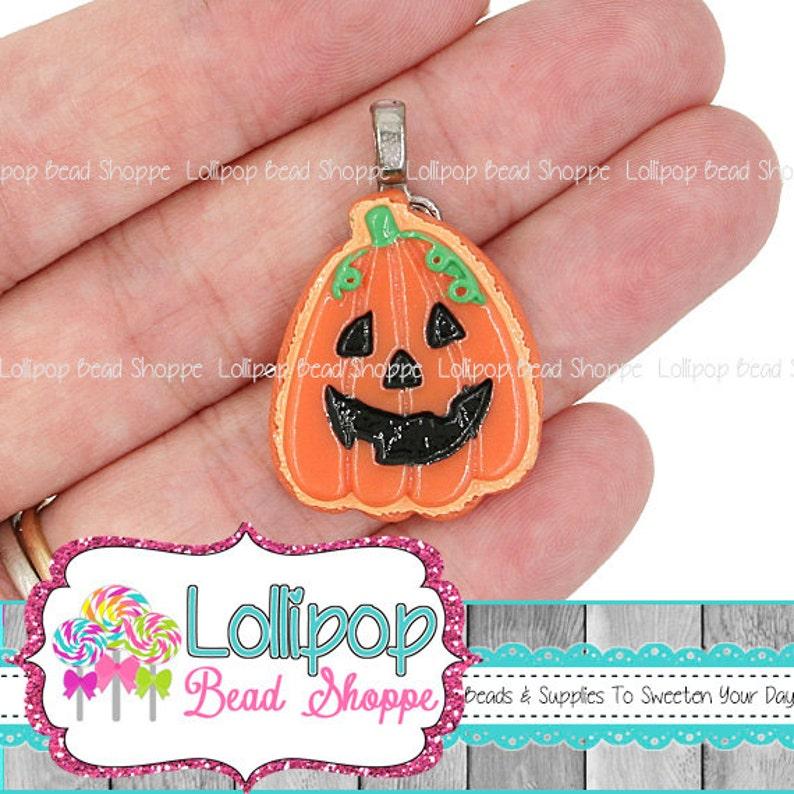 2 Orange Jack-O-Lantern Pendant Pumpkin Charm Flat Back Resin image 0