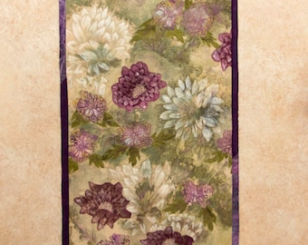 Art quilt with hand painted/dyed fabric, wall hanging, textile art - Zinnias