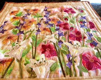 Art quilt made with hand painted fabric, wall hanging, textile art - wildflowers