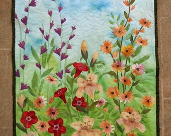 Botanical wall hanging, hand painted fabric art quilt, wall hanging, textile art - wildflowers