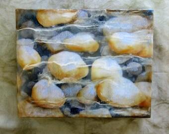 Encaustic art, wall art - Pebbles in the stream