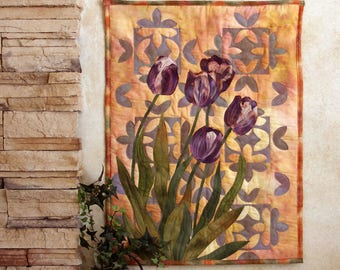 Hand painted fabric art quilt, wall hanging, textile art - Purple tulips