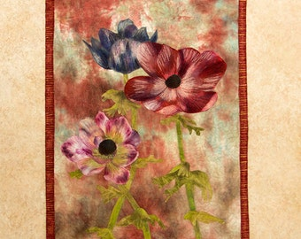 Hand painted fabric art quilt, wall hanging, textile art - Anemones