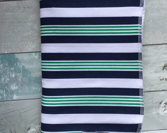 Navy, Green and white Stripe swaddle blanket-photography prop- receiving blanket