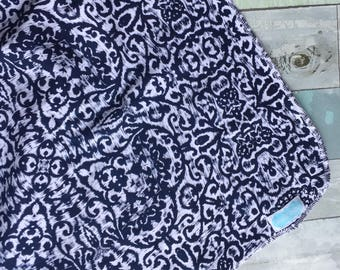 Clearance Navy and White IKAT pattern swaddle blanket-photography prop- receiving blanket