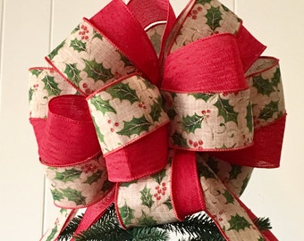 holiday tree topper bow holly berry holiday tree topper large bow home for the holidays collection