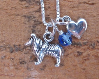 Collie Necklace- Mini Heart Sterling Silver Custom Necklace (Your Choice of Birthstone and Initial) Collie Jewelry, Collie Love Necklace