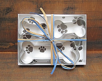 Four Piece Dog Bone Cookie Cutter Gift Set - Doggy, Doggie, Bone Cookie Cutter, Dog Treat DIY