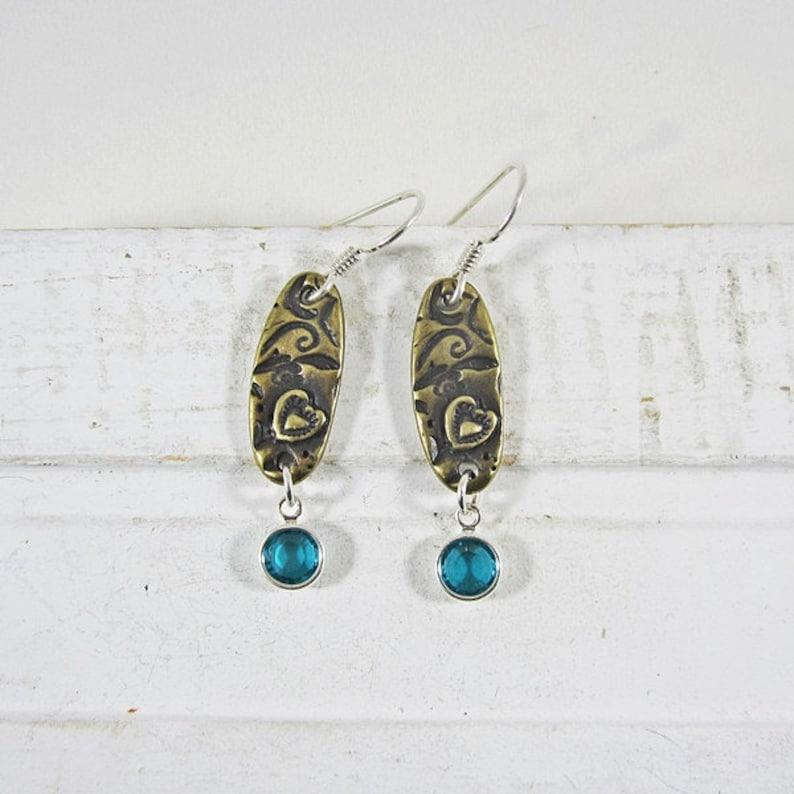 Aqua Dangle Earrings Antique Brass Earrings Aqua and Antique Brass Love Dangle Earrings Antique Etched Earrings Brass Heart Earrings