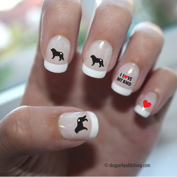 Bernese Mountain Dog Love Nail Art Bernese Mountain Dog Nail Etsy