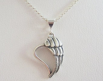 Angel Wing Heart Sterling Silver Pendant Charm and Necklace- Angel Wing Love Necklace, Angel Wing Heart Necklace, Angel Wing Heart Pendant