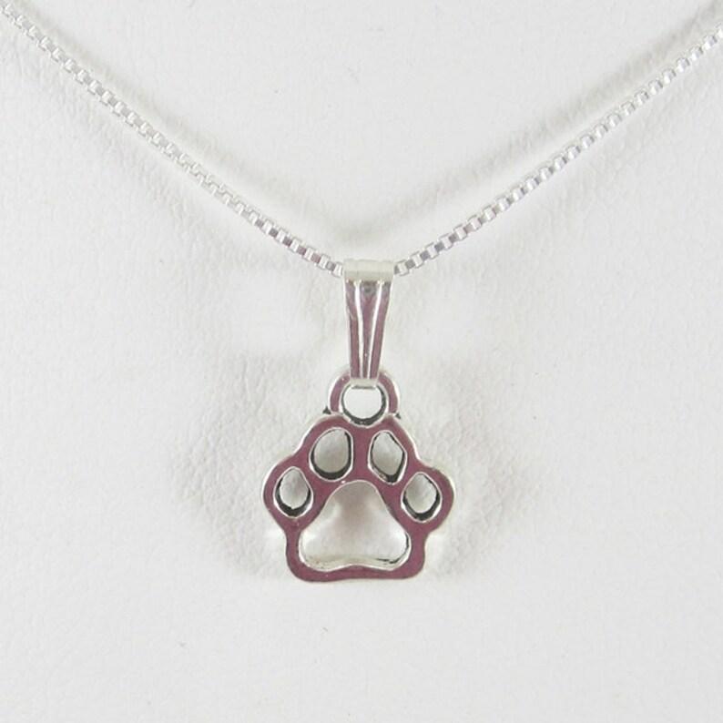 Paw Print Charm Paw Print Necklace Dog Necklace Dog Paw Print Necklace Open Paw Print Pendant Charm and Necklace Paw Print Pendant