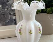 Fenton Silver Crest Hand Painted Floral White Ruffled Vase Bulb Vase Fenton Melon Vase Fenton Silvercrest Floral Vase