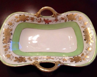 Vintage Nippon Hand Painted Gold Green / Nippon Japan / Hand Painted Trinket / Nippon Trinket / Nippon Candy / Green Nippon