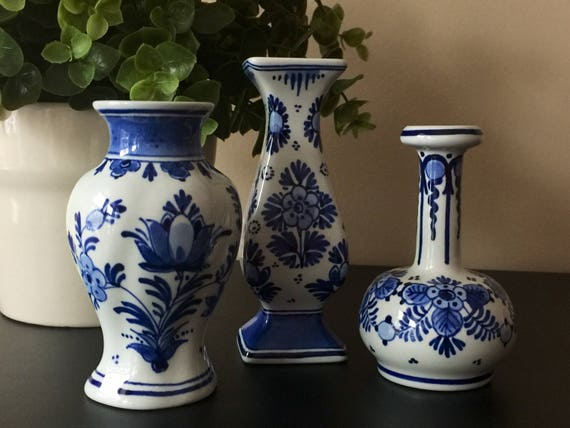 Set Of 3 De Porceleyne Fles Delft Small Vases Royal Delft Etsy