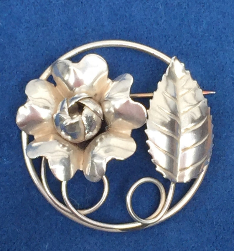 b6ba4446134 Sterling Silver 925 Rose with Leaf Brooch / Pin / Rose Pin/ | Etsy