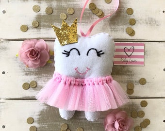 Personalized Girls Pink Tutu Love Tooth Fairy Pillow with Glitter Crown or Bow and Money Pocket. Baby Shower Gift
