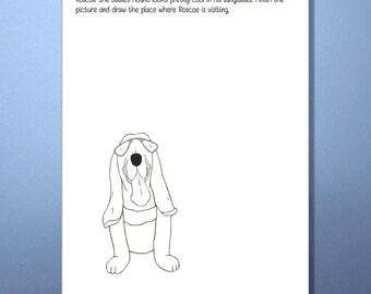 DIY Coloring Page - Roscoe the Basset Hound - Finish the picture, Printable Coloring Page, Instant Download