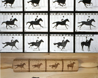 Edweard Muybridge galloping horse photo  on rolling pin.