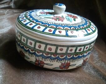 Vintage Ceramic Islamic Turkish Ottoman Kutahya Persian Covered Dish