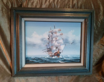 Vintage Original Signed Oil Painting on Canvas of a Sailing Ship by Amos Carr