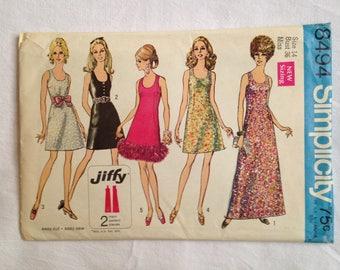 Simplicity 8494 Size 14 Bust 36 Dress 1969