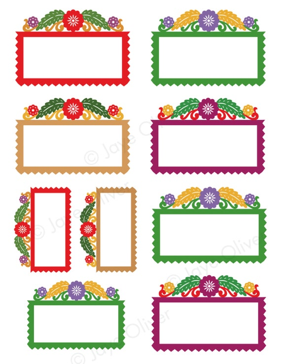 Digital Frame papel picado labels for bottles gift tags