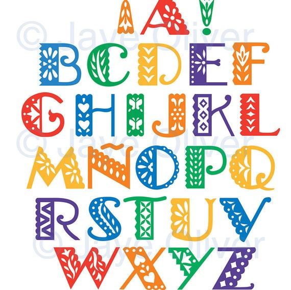 graphic regarding Papel Picado Printable known as printable papel picado alphabet letters quantities - can be recolored/resized