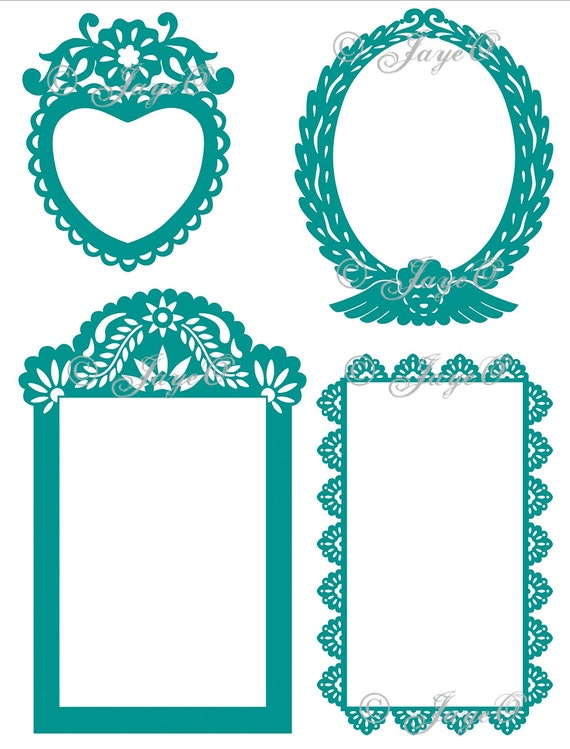digital papel picado frames downloadable etsy