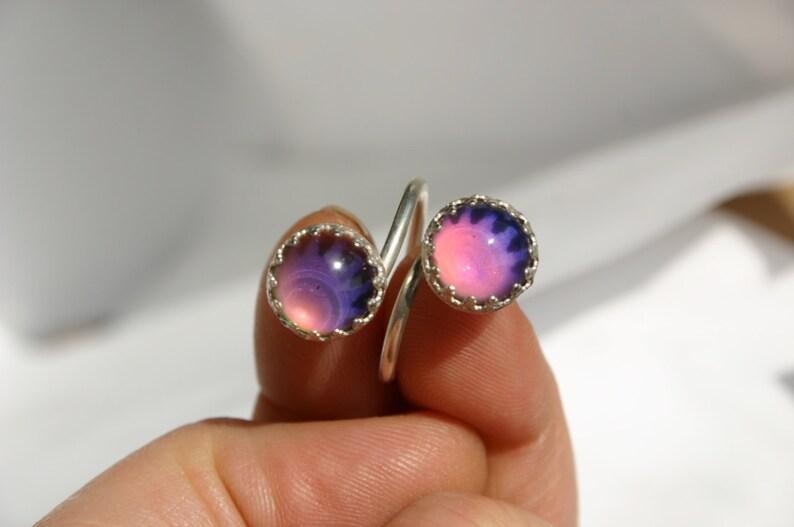 Mood Ring Handmade Double Mood Stone Ring Glass Mood Ring