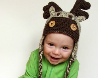 READY TO SHIP: Size 9-12 Month Reindeer/Moose Crochet Hat, Handmade, Baby, Winter Beanie