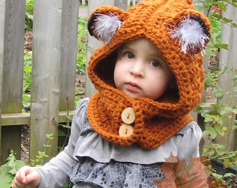 The Woodland Friend Hooded Cowl, Toddler, Child, Adult, Crochet, Costume