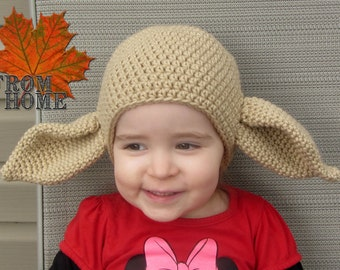 House Elf Inspired Crochet Hat - Baby, Toddler, Child, Adult - Costume, Halloween, Warm Winter Beanie, Character, Fantasy
