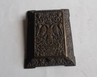 vintage brass notebook case, Byzantine eagle