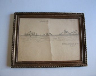 30's original drawing, near Lisbon, framed