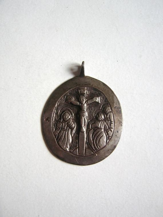 1800's crucifixion pendant, hand made folk art