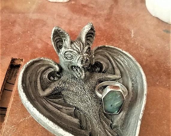 Ready to ship, bat ring dish, trinket dish, creepy decor, bat gift, Fall decor, cute bat, wedding ring holder, stocking stuffer